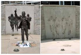 Joe Paterno statue before and after it was torn down