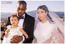 Kim Kardashian with kanye, and daughter, North West