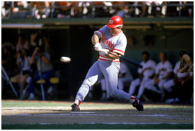 Pete Rose hitting while on the Reds