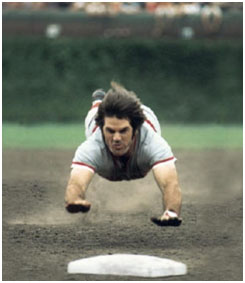 pete rose sliding into a base head first