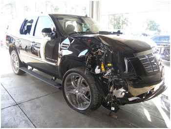 Tiger Woods Escalade after his collision with a fire hydrant